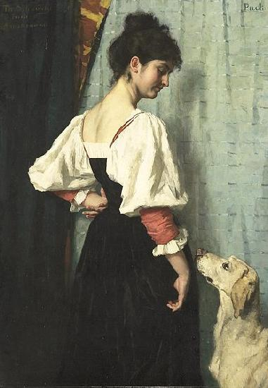 Therese Schwartze Young Italian woman with a dog called Puck.