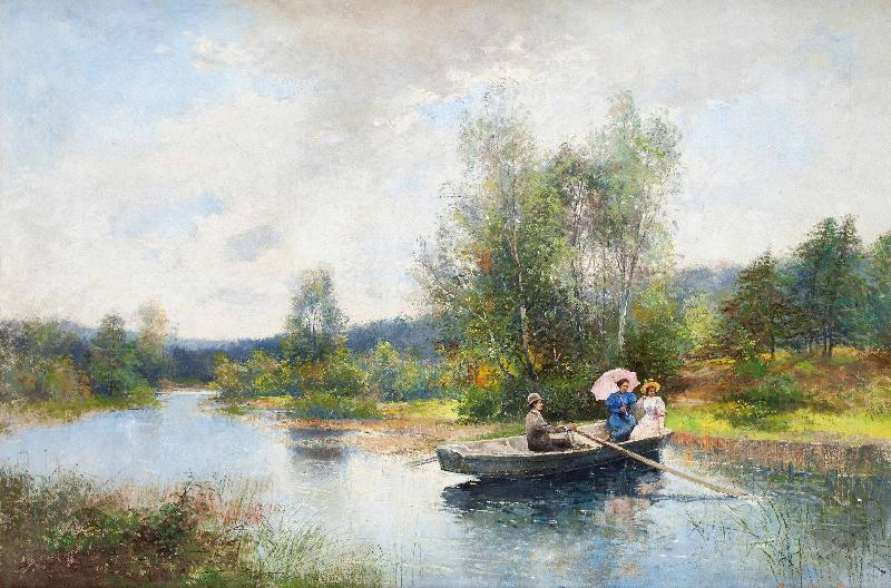 Severin Nilsson Rowing in a summer landscape
