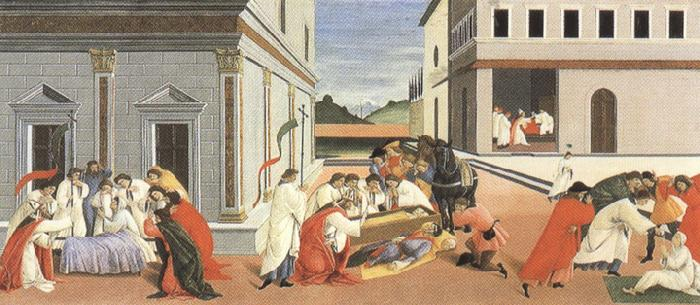 Sandro Botticelli Three miracles of St Zanobius reviving the dead (mk36)