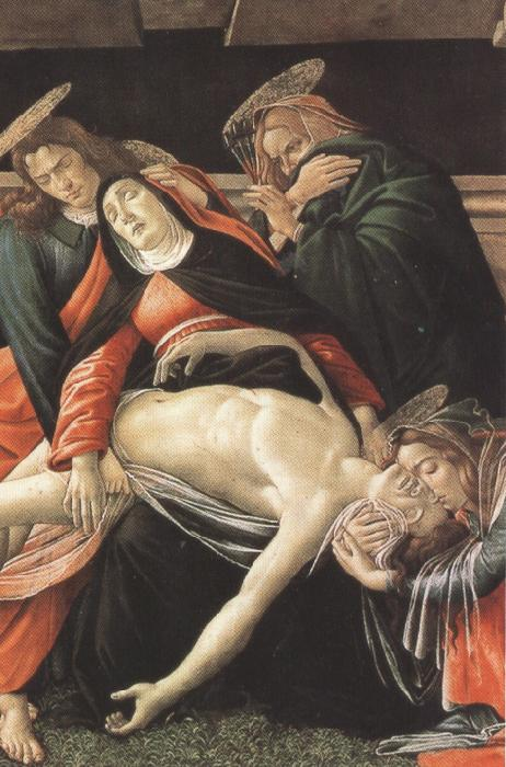 Sandro Botticelli Details of Lament fro Christ Dead,with st jerome,St Paul and St Peter (mk36)