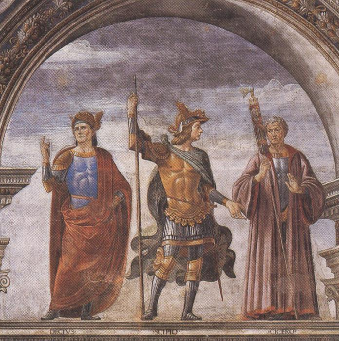 Sandro Botticelli Domenico Ghirlandaio and Assistants,The Roman heroes Decius Mure,Scipio and Cicero (mk36)