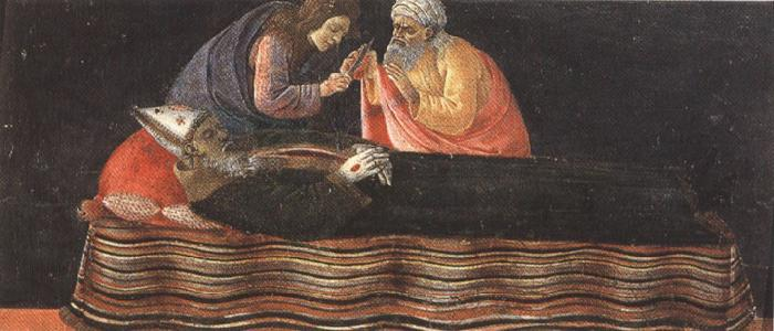 Sandro Botticelli Extracting the heart of St Ignatius Bishop.
