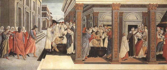 Sandro Botticelli Baptism,renunciation of marriage,appointment as bishop (mk36)