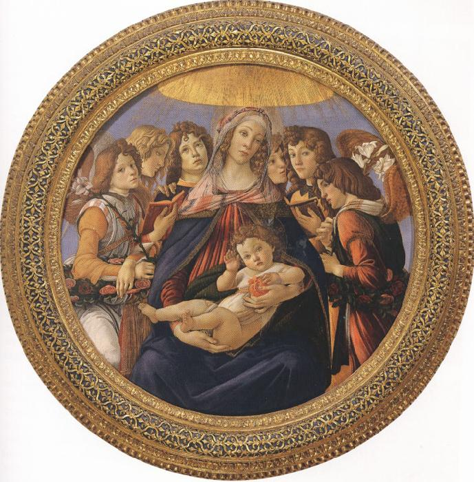 Sandro Botticelli Madonna and Child with six Angels or Madonna of the Pomegranate (mk36)