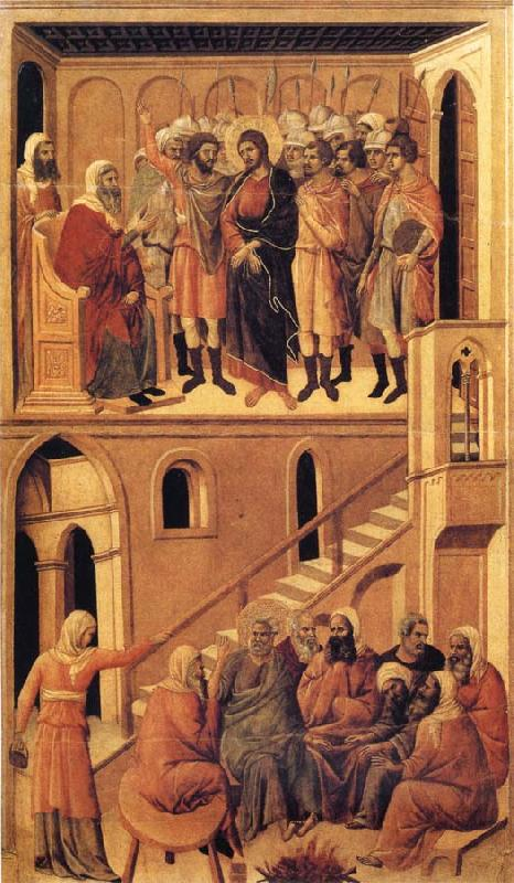 Duccio di Buoninsegna Peter's First Denial of Christ and Christ Before the High Priest Annas