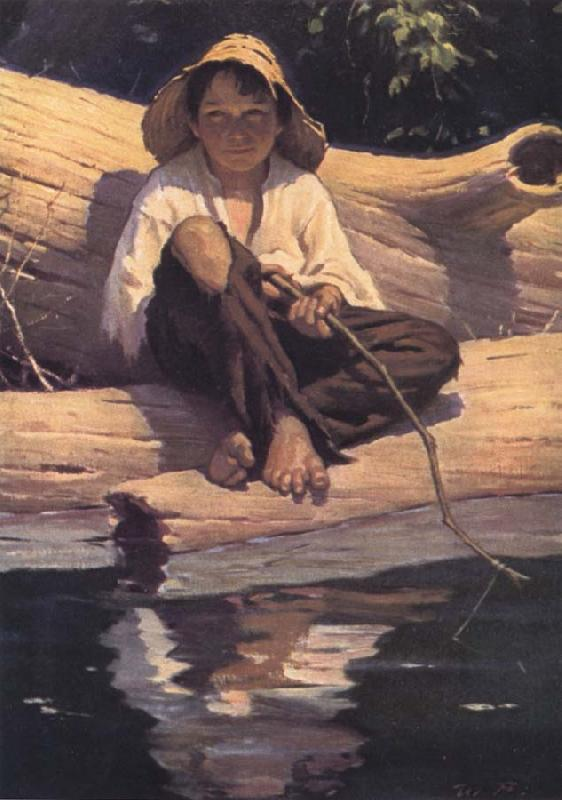 Worth Brehm Forntispiece illustration for The Adventures of Huckleberry Finn by mark Twain